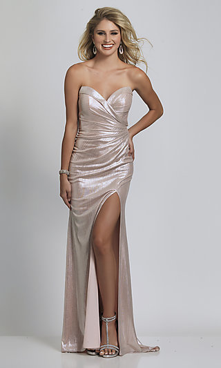 Long Strapless Pink Sequin Prom Dress