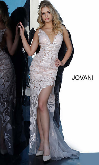 Long High-Low Sheer Prom Dress with Sequins