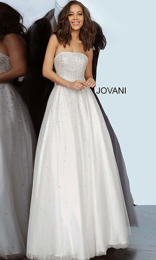Strapless Ballgown-Style Prom Dress with Beading