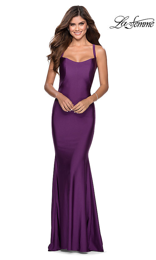 Long La Femme Prom Dress with a Lace-Up Open Back