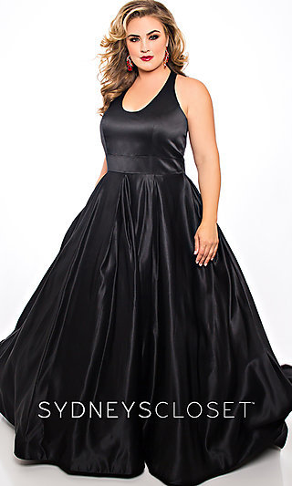 Long Scoop Neck Ballgown-Style Plus-size Prom Dress