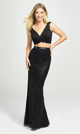 Long Two-Piece Sleeveless Prom Dress