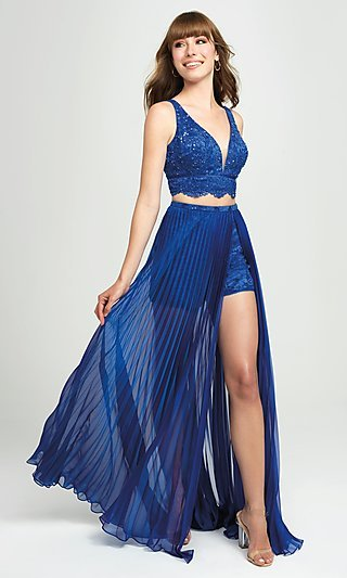 Two-Piece Illusion Pleated Prom Dress with Shorts