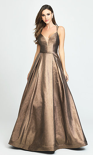 Glitter Metallic Ball Gown for Prom