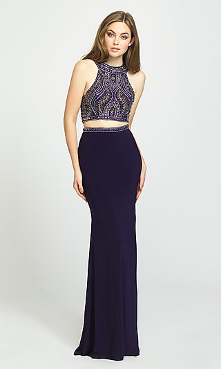 High-Neck Two-Piece Prom Dress by Madison James