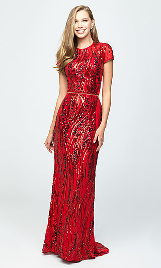 Two-Piece Red Sequin Prom Dress