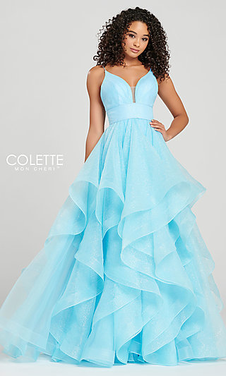 Glitter A-Line Prom Dress with a Ruffled Skirt