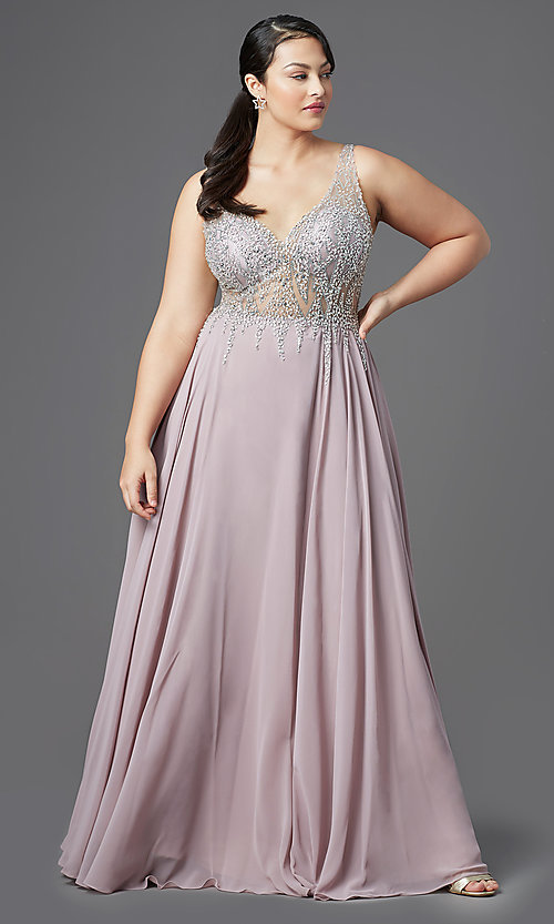 Long V-Neck Plus-Size Prom Dress with Beaded Bodice