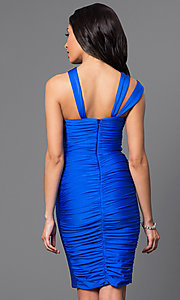 Image of short ruched cocktail dress by Atria. Style: AT-6036 Back Image