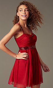 Image of short sleeveless homecoming party dress with sequins.  Style: DQ-8381 Front Image