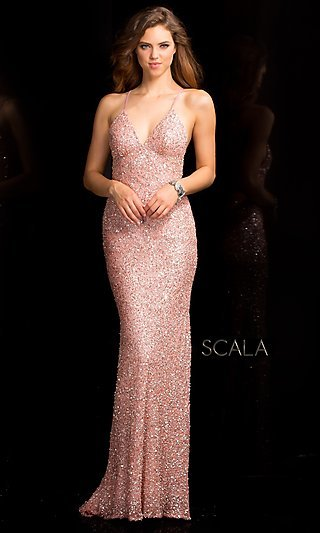 Long V-Neck Sequin Dress with Open Back by Scala