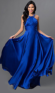High-Neck Long Halter Prom Gown