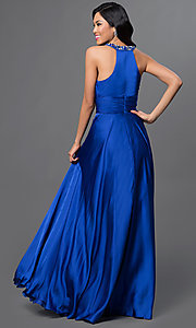 Image of high-neck long halter prom gown.  Style: DQ-8337 Back Image