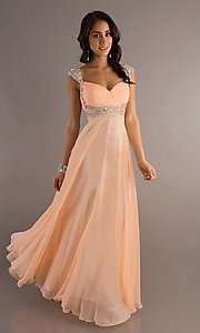 Image of long Dave and Johnny peach prom dress. Style: DJ-8671 Front Image