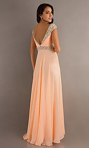 Image of long Dave and Johnny peach prom dress. Style: DJ-8671 Back Image