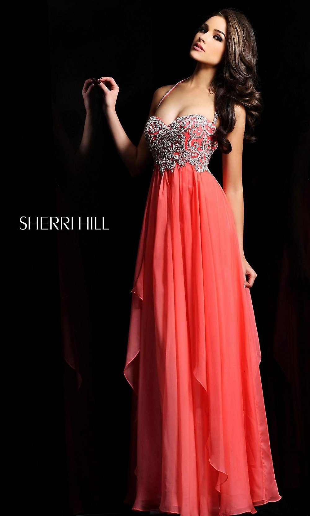 Long Halter Prom Dress Sherri Hill Beaded Halter Gown- PromGirl