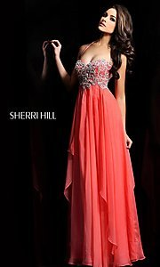 Long Halter Prom Dress by Sherri Hill 3836