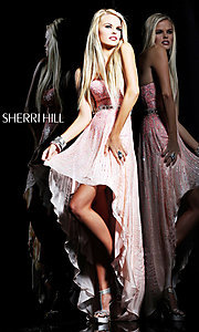 Sequin Strapless High Low Dress by Sherri Hill 8503