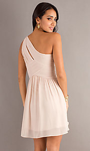 Image of one shoulder short champagne nude party dress. Style: MT-MD-6058 Back Image