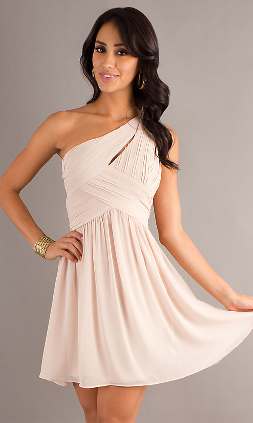 Image of one shoulder short champagne nude party dress. Style: MT-MD-6058 Front Image