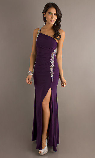 Jewel-Accented Long One-Shoulder Dress