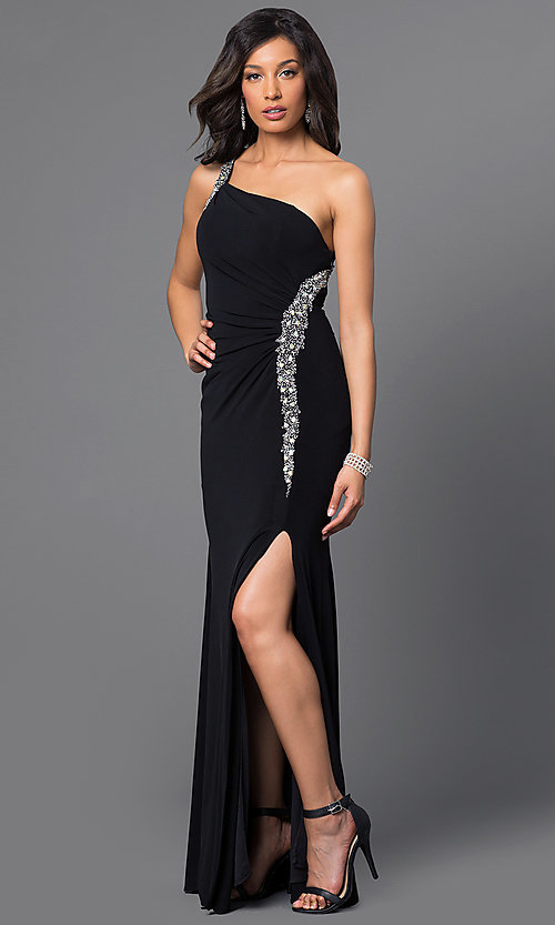 Image of jewel-accented long one-shoulder dress. Style: DQ-8309 Detail Image 1