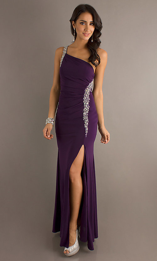 Image of jewel-accented long one-shoulder dress. Style: DQ-8309 Front Image