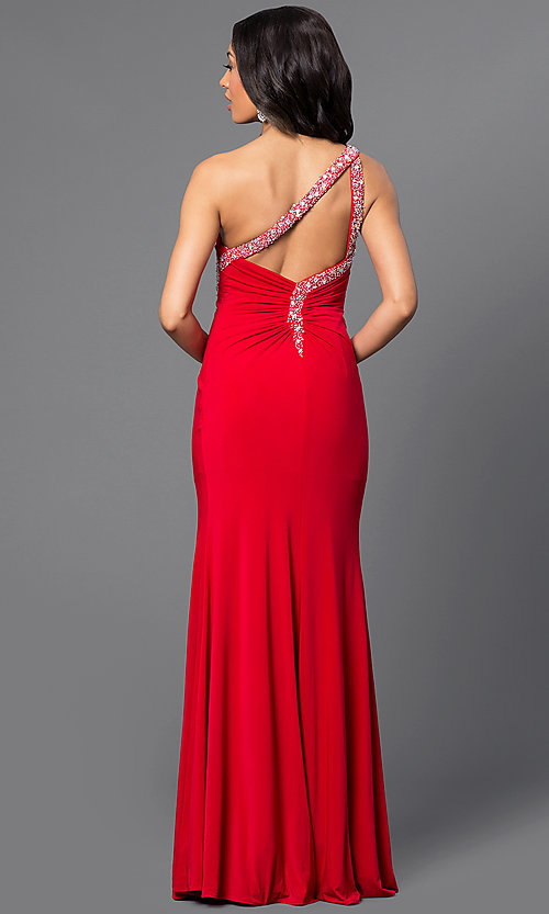 Image of jewel-accented long one-shoulder dress. Style: DQ-8309 Back Image