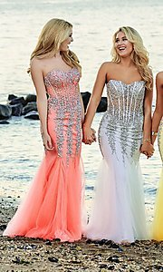 Image of long strapless sweetheart dress Style: JO-5908 Detail Image 7