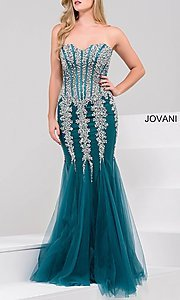 Image of long strapless sweetheart dress Style: JO-5908 Detail Image 5