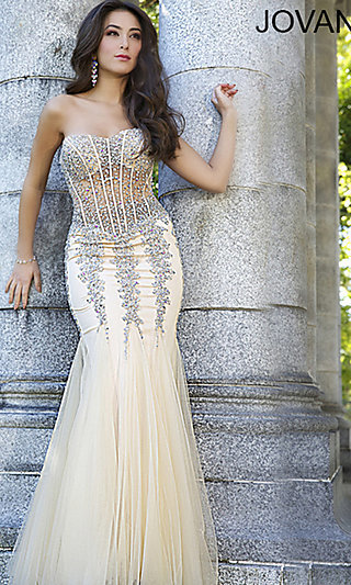 73edc7a52c9 Long Strapless Sweetheart Jovani Prom Dress