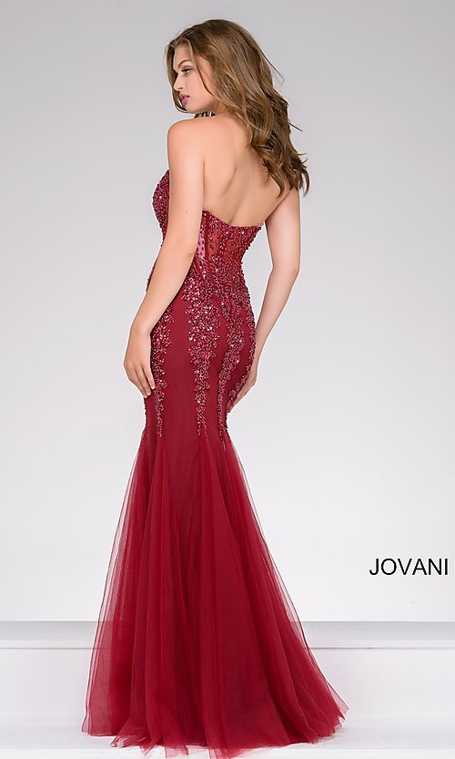 Image of long strapless sweetheart dress Style: JO-5908 Detail Image 3