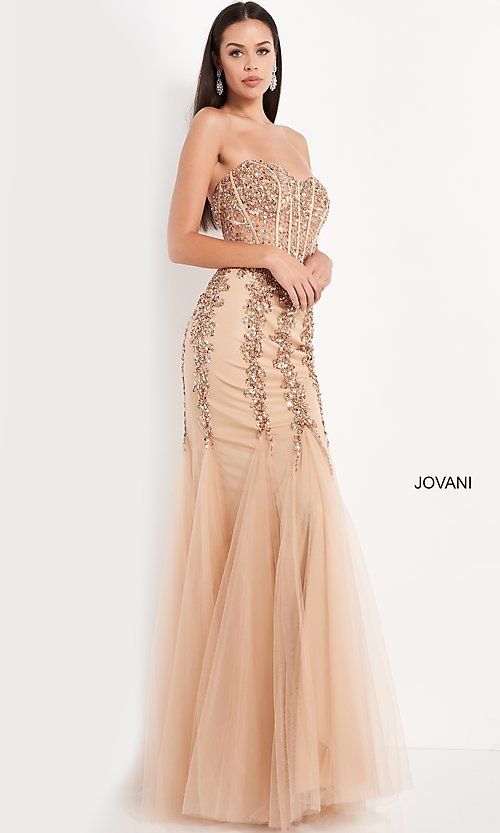 Image of long strapless sweetheart dress Style: JO-5908 Front Image