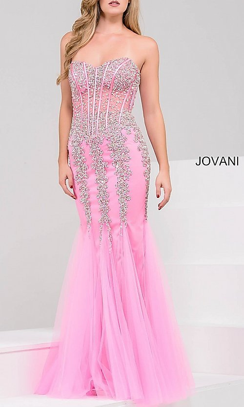 Image of long strapless sweetheart dress Style: JO-5908 Detail Image 8