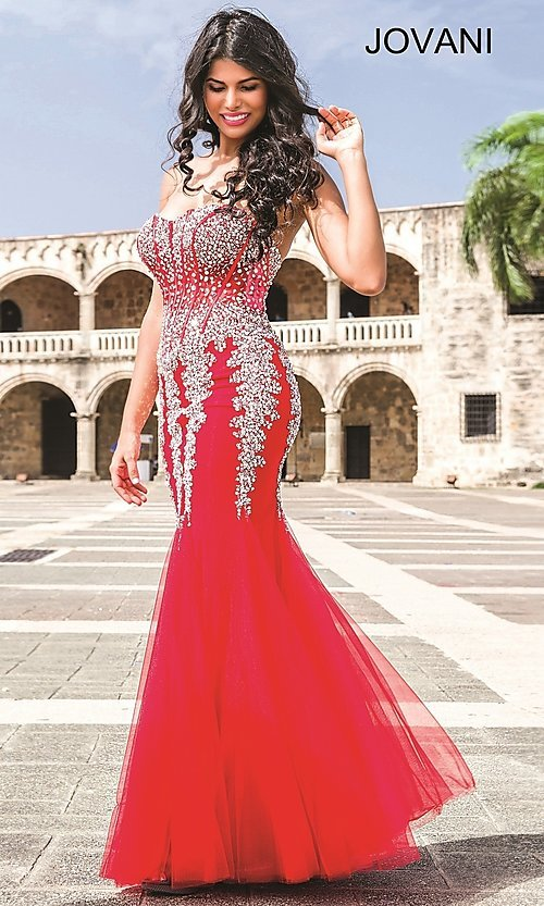 Image of long strapless sweetheart dress Style: JO-5908 Detail Image 2