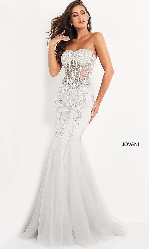 Image of long strapless sweetheart dress Style: JO-5908 Detail Image 1