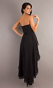 Image of strapless sequined high-low dress.  Style: DQ-8402 Back Image