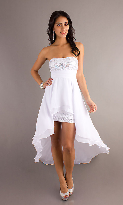 Image of strapless sequined high-low dress.  Style: DQ-8402 Front Image