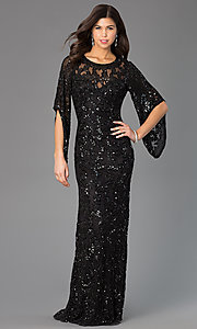 Image of long sequin butterfly sleeve dress Style: PV-9713 Detail Image 1