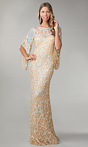 Image of long sequin butterfly sleeve dress Style: PV-9713 Front Image