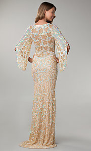 Image of long sequin butterfly sleeve dress Style: PV-9713 Back Image