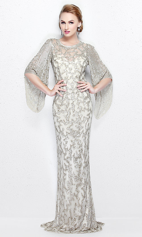 Image of long sequin butterfly sleeve dress Style: PV-9713 Detail Image 2