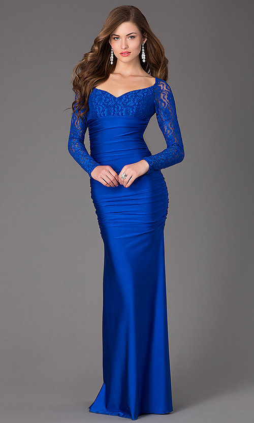Long Sleeve Prom Dresses, Atria Lace Formal Prom Gowns- PromGirl