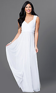Image of floor length sleeveless ruched bodice dress Style: SI-11341 Front Image
