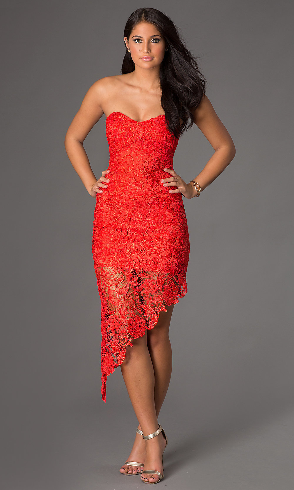 Short Strapless Lace Dress Short Lace Cocktail Dress- PromGirl