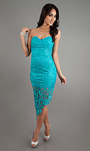 Short Lace Strapless Dress
