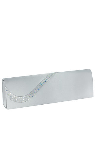 Beaded Silver Satin Clitch