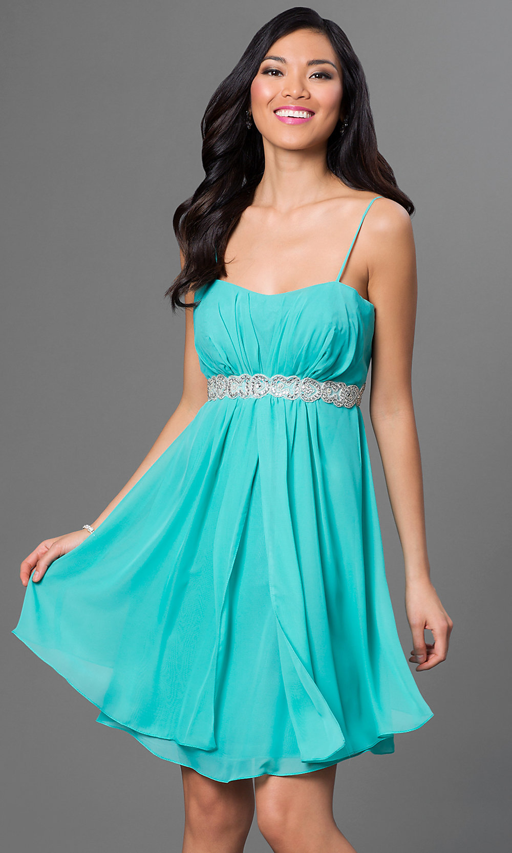 Cheap Short Spaghetti-Strap Party Dress - PromGirl