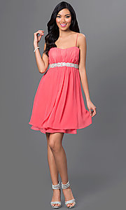 Image of short spaghetti-strap dress by Sally Fashion Style: SF-8736 Detail Image 3