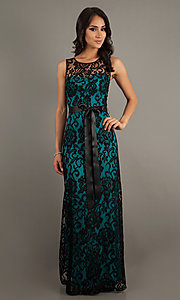 Long Sleeveless Lace Dress by Sally Fashions